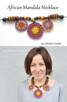 African Mandala Necklace - free pattern by Lilla Bjorn Crochet