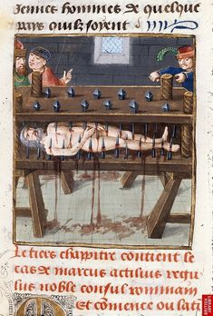 Detail of a miniature of the death of Regulus, at the beginning of chapter 3 of book Origin: Netherlands, S. Medieval Life, Medieval Art, Medieval Manuscript, Illuminated Manuscript, Medieval Paintings, Creepy Pictures, Dark Images, Danse Macabre, Book Of Hours