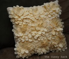 The Gunny Sack - Tutorial Tuesday: Knockoff Delancey Felt Petal Pillow from Horchow