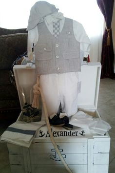 Whole set anchor theme - baby boy baptism - great boy's outfit