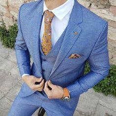 Slim-Match Plaid Go well with Vest Blue - Best Suit's Men Dress Up, Dress Suits For Men, Suit And Tie, Plaid Suit, Suit Vest, Mens Fashion Suits, Mens Suits, Fashion Shirts, Fashion 101