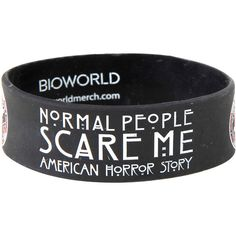 American Horror Story Normal People Rubber Bracelet Hot Topic ($7) ❤ liked on Polyvore featuring jewelry, bracelets, rubber bangles, rubber jewelry and american jewelry