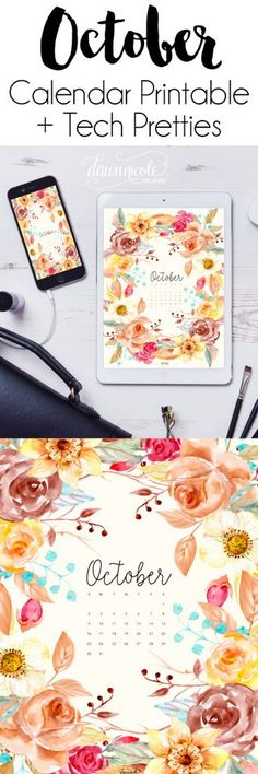 October 2016 Calendar + Tech Pretties. One of my most popular posts each month are these free pretty printables and calendars for your tech!   DawnNicoleDesigns.com