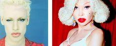 Amanda Lepore. Left: boy. Right: adult woman.