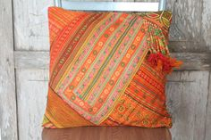 INSPIRATION - Love the beaded embellishment on the pillow. Lanna Orange Cushion Cover Beads work and Tassel HMONG Hill Tribe Thailand FAIR Trade Handmade