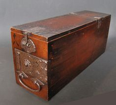 Antique Japanese money box ~~~I have a Korean box similar to this that has 2 long drawers. I have used it for 40 years as a sewing box. SVM