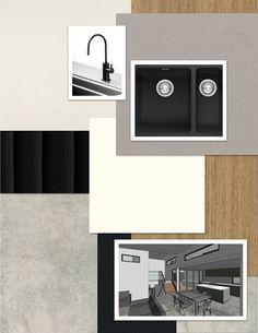 Anglesea Project - Kitchen featuring Caesarstone Fresh Concrete (island benchtop), Caesarstone Raw Concrete (back benchtop), Laminex Sublime Teak (island base cabinets), Laminex Impressions Black Riser (island back panel), Laminex Parchment (remaining cabinets). Tiles Porcelain Arkitek Grey Matt 300 x 600 (Beaumont Tiles). Meir matte black tapware and Franke Kubus Onyx undermount sink. Design & construct by Pivot Homes. #colourboard #interiordesign #customhome #pivothomes #interior #kitchen Dad's Kitchen, Kitchen Benches, Modern Kitchen Cabinets, Kitchen Cabinet Design, Fresh Concrete Caesarstone, Concrete Bench Top, Beaumont Tiles, Black Cabinets, Undermount Sink