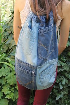 Denim Backpack Drawstring Backpack patchwork by PrettyMarry