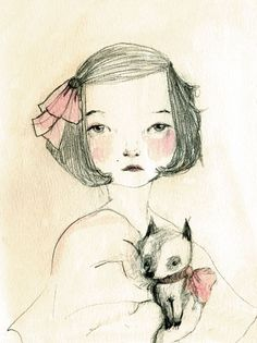 Childrens Wall Art Print -Chihuahua and Sara Portrait with dog,  8x11 inches Print. $20.00, via Etsy.