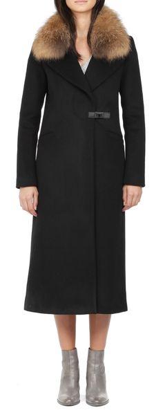 Soia Kyo Rosaleen Black classic long winter wool coat