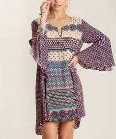 Look at this #zulilyfind! Taupe & Pink Geometric Hi-Low Dress #zulilyfinds