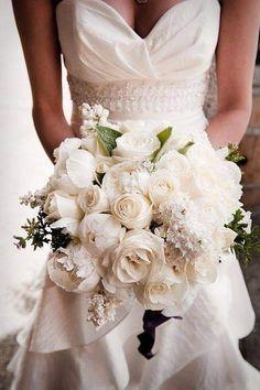 All White Wedding, White Wedding Bouquets, Wedding Flower Arrangements, Bride Bouquets, Flower Bouquet Wedding, Perfect Wedding, Wedding Dresses, Purple Bouquets, Pink Bouquet