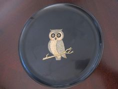 Vintage Couroc Inlaid Owl Tray