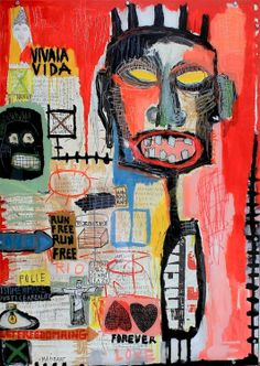 """Viva la vida, 2013"" by Sylvia Calmejane Acrylic, collages and perspex bolted on wood 140 x 100 cm #Street Art"