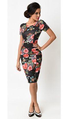 Unique Vintage 1960s Black Floral Short Sleeve Stretch Mod Wiggle Dress