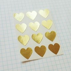 Gold Heart Envelope Seal Stickers