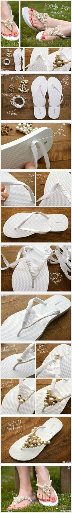 Another flip-flop redo...cute! - Click image to find more diy & crafts Pinterest pins-a little confusing when it gets to the instructions about putting the beads on I wish they could explain it or show it better.