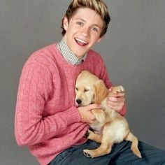One Direction's Nial with a sleeping yellow lab puppy
