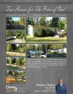 #NEWLISTING  Two houses for the price of one!!! Manufactured home that comes with a stick built.. Property is priced to sell quickly. Nearly 5 acres of property with two houses on the lot. Quite wooded property far enough for peace and quiet and close enough to everything you need. Both houses are 1188 square feet each both with 3 bedrooms 2 baths. Plenty of room for everyone or use the other as a rental!  Contact Matthew Walker @ (253) 844-1103 MLS # 1206122 http://1203342ndste.c21.com/