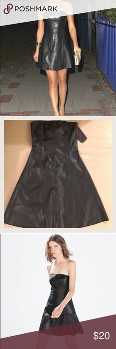Black Faux Leather Dress from Zara Sexy Black Strapless Faux Leather dress from Zara. Never worn ! New with Tags! Size XS Zara Dresses Strapless