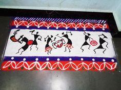 how to make warli art in rangoli border design created by latest rangoli Indian Rangoli Designs, Rangoli Designs Latest, Rangoli Designs Flower, Latest Rangoli, Rangoli Border Designs, Colorful Rangoli Designs, Rangoli Ideas, Beautiful Rangoli Designs, Kolam Designs