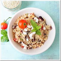 I'm on a quinoa kick - made this tonight minus onions/olives. Prob would make less dressing next time, but all in all very tasty, very easy, very fresh