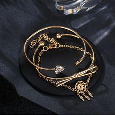 Elegant Cuff Bracelets Chain Dream Net Bowknot Crystal Heart Fashion Multilayer Bracelet for Women Fashion Bracelets, Bangle Bracelets, Pendant Earrings, Bracelet Sizes, Body Jewelry, Jewelry Watches, Women Jewelry, Chain, Crystals