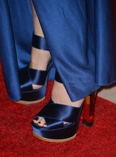 Naomi Watts' Louis Vuitton satin and plexiglass sandals.
