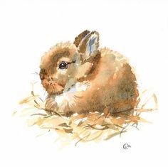 Baby-Bunny  Original ungerahmt Aquarell auf eine hohe Qualität 300 g/m - 140lb Säure frei Sennelier Aquarellpapier. Hand bemalt und signiert von der Künstlerin Maria Stezhko.  Bitte beachten Sie, dass Farben je nach Monitor-Einstellungen leicht variieren können.  Größe: 7 4/5 x 7 4/5 Inch oder 20 x 20 cm  ******************************************************************************  Dieses Gemälde wird mit Sorgfalt verhindert Schäden verpackt sein.  Internationale Käufer: Bitte…