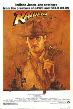 """Raiders of the Lost Ark"" Archeologist and adventurer Indiana Jones is hired by the US government to find the Ark of the Covenant before the Nazis. Harrison Ford, Karen Allen and Paul Freeman. Favorite of all the Indiana Jones movies. Blockbuster Movies, 80s Movies, Movies To Watch, Good Movies, Amazing Movies, Action Movies, Harrison Ford, Indiana Jones, Horror Movie Posters"