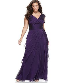 Adrianna Papell Plus Size Dress, Sleeveless Tiered Empire Waist Evening Gown - Plus Size Dresses - Plus Sizes - Macy's.... BRIDESMAIDS DRESSES!!!! If we do a summertime wedding....