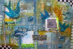 The Common Denominator: StencilGirl Blog Hop Featuring NEW Artist Andrea Matus deMeng. Art Journal page using bird stencil from StencilGirl Products.