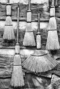 This is my beautiful broom collection! I use them all for different cleaning situations.