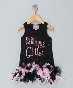 eac0c35348f Born 4 Couture Black  Fabulous  Feather Dress - Infant