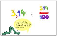 Η τάξη με τον ήλιο: Πώς μετατρέπω δεκαδικά κλάσματα σε δεκαδικούς αριθ... Kids Education, Special Education, Kai, Dyscalculia, Primary Maths, Teaching Math, Therapy, Learning, School
