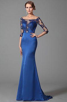 Elegant Blue Off Shoulder Half Sleeves Prom Dress Evening Gown (02152805)