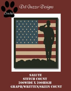 Salute Military Crochet Graph Graphghan Pattern WITH WRITTEN INSTRUCTIONS, skein and stitch count