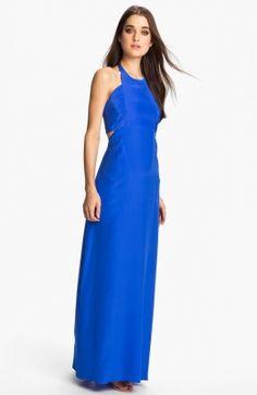 Long Blue Halter Maxi Dress