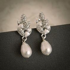 Ashtyn Vintage Inspired Bridal Wedding Stud Earrings Filigree Leaf Swarovski Crystal And Pearl Art Deco Jewelry
