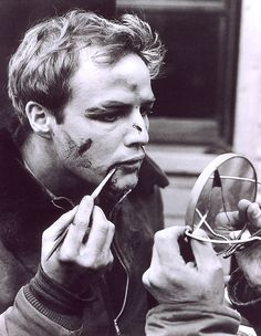 Marlon, doing his own On the Waterfront makeup.