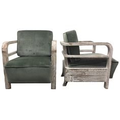 Pair of 1930s French Limed Oak Lounge Chairs | See more antique and modern Lounge Chairs at https://www.1stdibs.com/furniture/seating/lounge-chairs