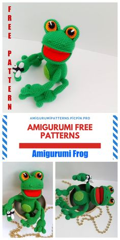 Amigurumi related to each other, we continue to bring you beautiful shares. In this article, amigurumi sweet frog free pattern is waiting for you. Crochet Frog, Crochet Animal Amigurumi, Crochet Mouse, Amigurumi Patterns, Free Crochet, Crochet Animals, Crocheted Jellyfish, Puppet Patterns, Crochet Pumpkin