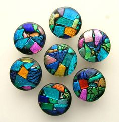 "Round ""My Picasso"" Fused Dichroic Glass Knobs  Uneek Glass Fusions"