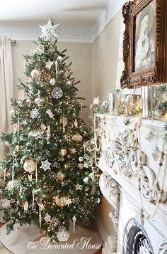 white and champagne colored ornaments for christmas tree
