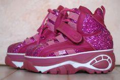 r e s e r v e d Chunky bright pink glitter Buffalo platform boots sz 39 / 8,5