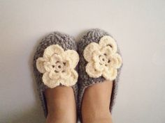 Slippers women accessories Wool Grey Crochet by BloomedFlower, $26.00