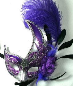 Feather Masquerade Ball Party Mardi Gras Mask Purple Silver | eBay