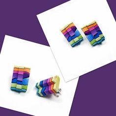 polymer clay Watercolor Rainbow Post Earrings by artist Sherri Kellberg-    BeadazzleMe.etsy.com