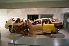 Crushed Porsche Cayenne Made From Wood by Folke Koebberling & Martin Kaltwasser