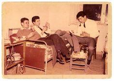 توفيق فياض وسميح القاسم ومحمود درويش في حيفا 1963م